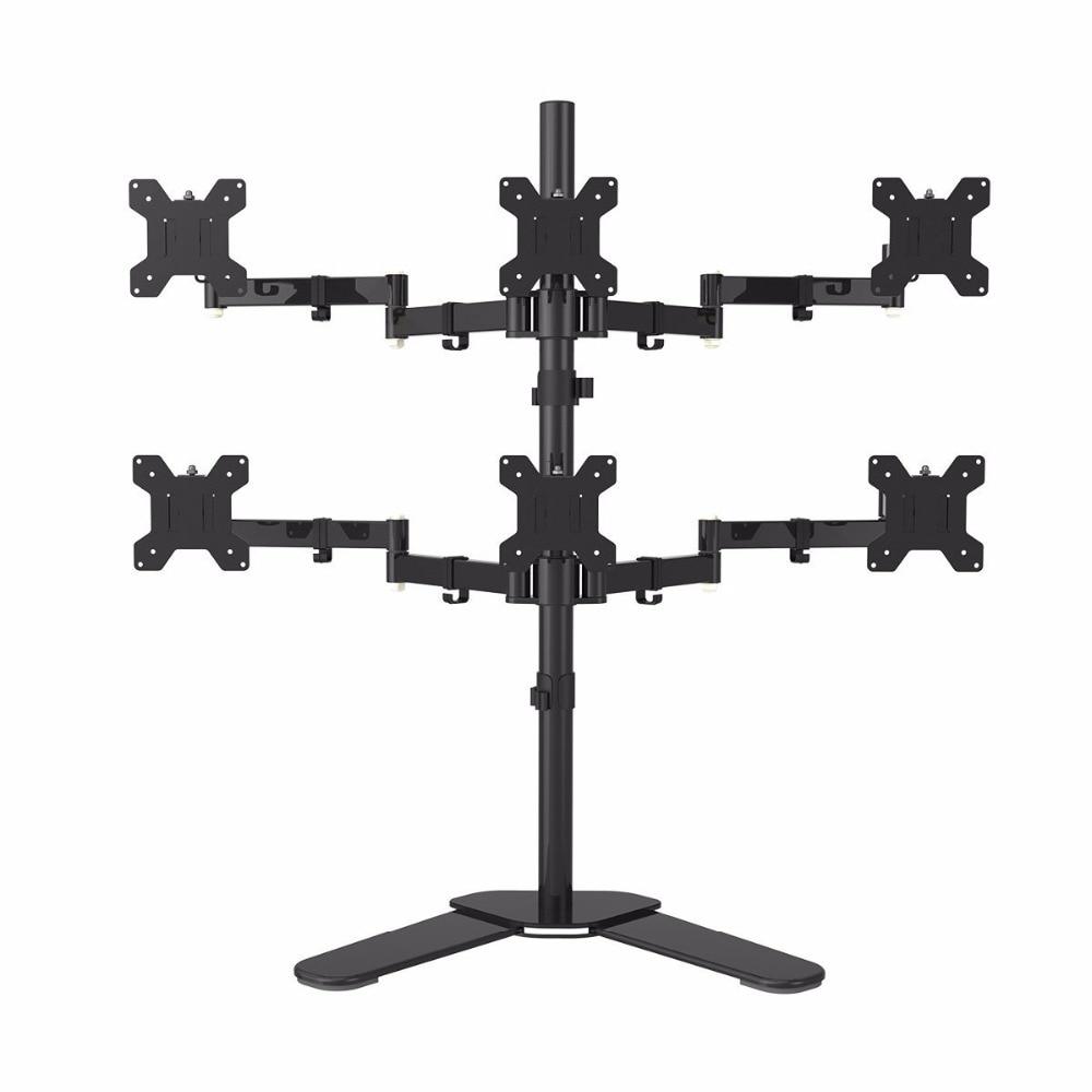 Hex ARM ЖК дисплей СВЕТОДИОДНЫЙ монитор стенд стол кронштейн для тяжелых условий эксплуатации и полностью регулируемая 6 экранов 180 градусов в