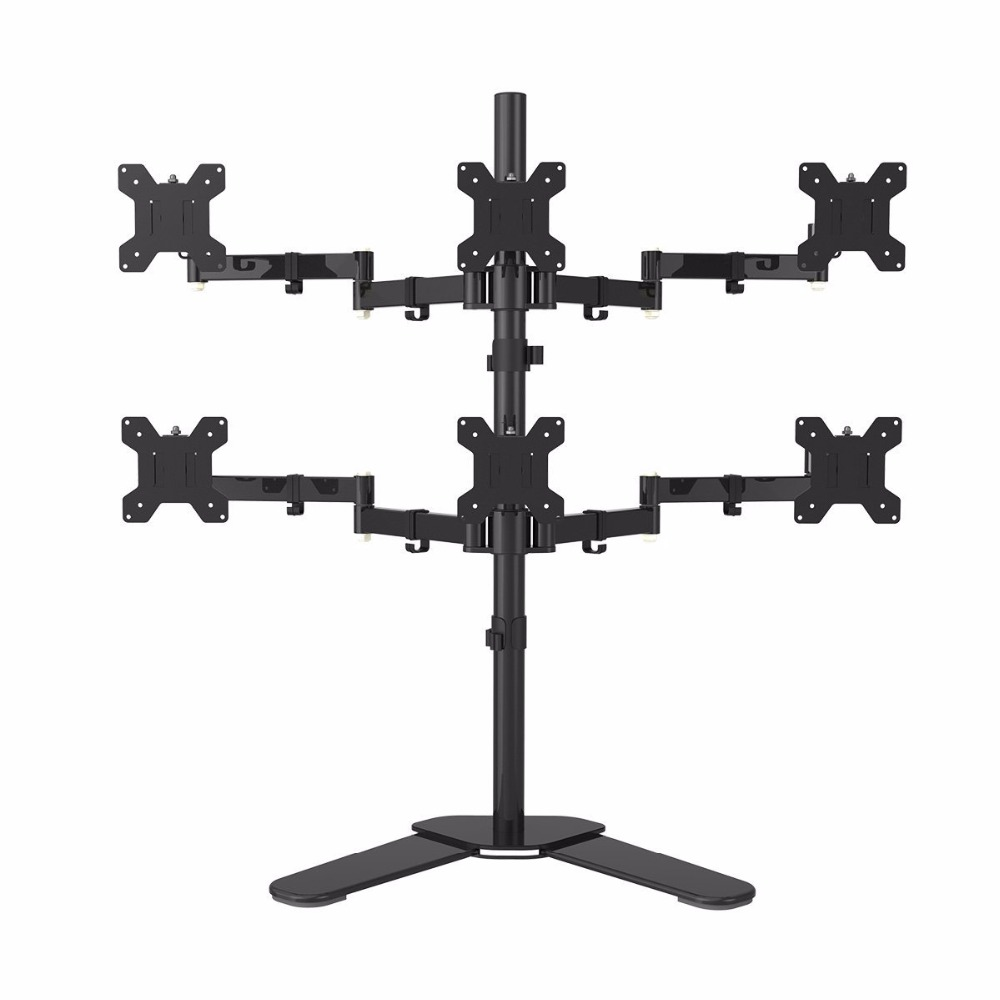 Hex Arm LCD LED Monitor Stand Desk Mount Bracket Heavy Duty & Fully Adjustable 6 Screens 180 degree Pull Out Swivel Arm ML68126Hex Arm LCD LED Monitor Stand Desk Mount Bracket Heavy Duty & Fully Adjustable 6 Screens 180 degree Pull Out Swivel Arm ML68126