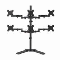 Hex Arm LCD LED Monitor Stand Desk Mount Bracket Heavy Duty & Fully Adjustable 6 Screens 180 degree Pull Out Swivel Arm ML68126