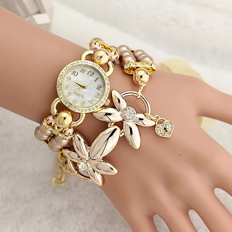 Fashion Luxury Pearl Bracelet Quartz Watches Women Casual Wristwatches 3038 Free shipping