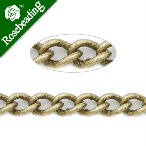 4.8MM*3.2MM Brass Antique Brozen Plated  Twist Oval Chain,Handmade,Sold 25 Meters Per Roll