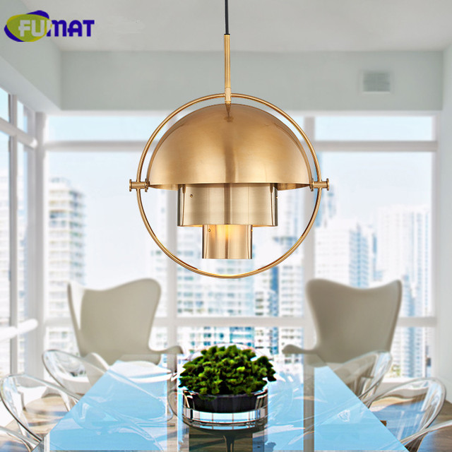 FUMAT Modern Pendant Light Dining Room Fashion Metal Pendant Lamp Bedroom  Study Semi Circle Variable