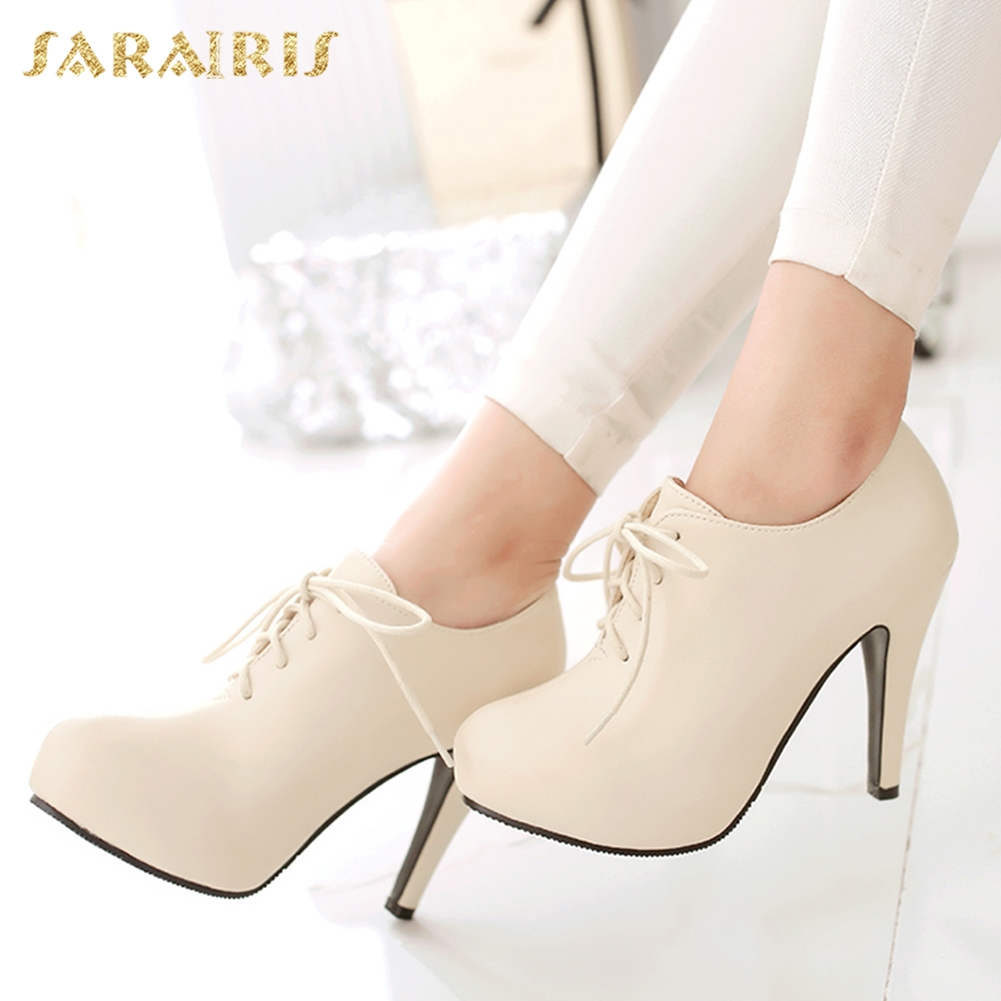 SARAIRIS New Plus Size 34-43 Autumn Lace Up Platform Booties Pumps Women's Shoes Woman High Heels OL Lady Shoes Ankle Boots