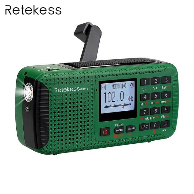 Retekess HR11S Emergency Radio Hand Crank Solar Radio FM/MW/SW Bluetooth MP3 Player Digital Recorder Portable