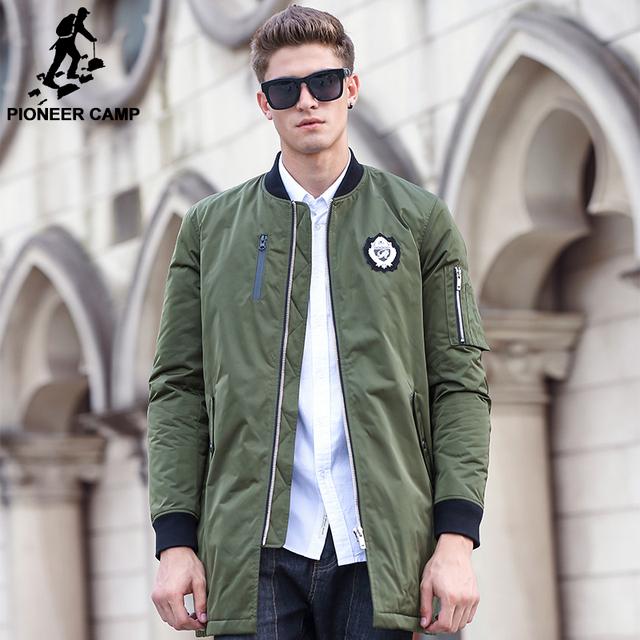 Pioneer camp nuevo ejército verde otoño invierno capa de la chaqueta de los hombres ropa de calidad superior de la marca de algodón hombres abrigo de moda casual 677159