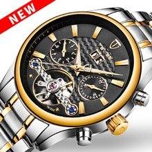 02fb44ba0a6 2017 Novo Tevise Automatico Relogio Masculino Homens Relógios Mecânicos  Moda Tourbillon Skeleton Relógio de Ouro À Prova D  Água.