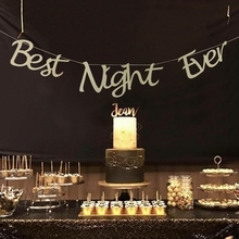 1pcs Bachelorette Party Decorations Glitter Gold Best Night Ever Banner Bride To-Be Bridal Shower Hen