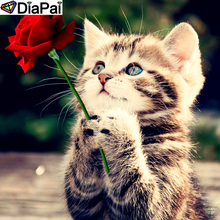 DiaPai Diamond Painting 5D DIY 100% Full Square/Round Drill Animal cat flower Embroidery Cross Stitch 3D Decor A24756