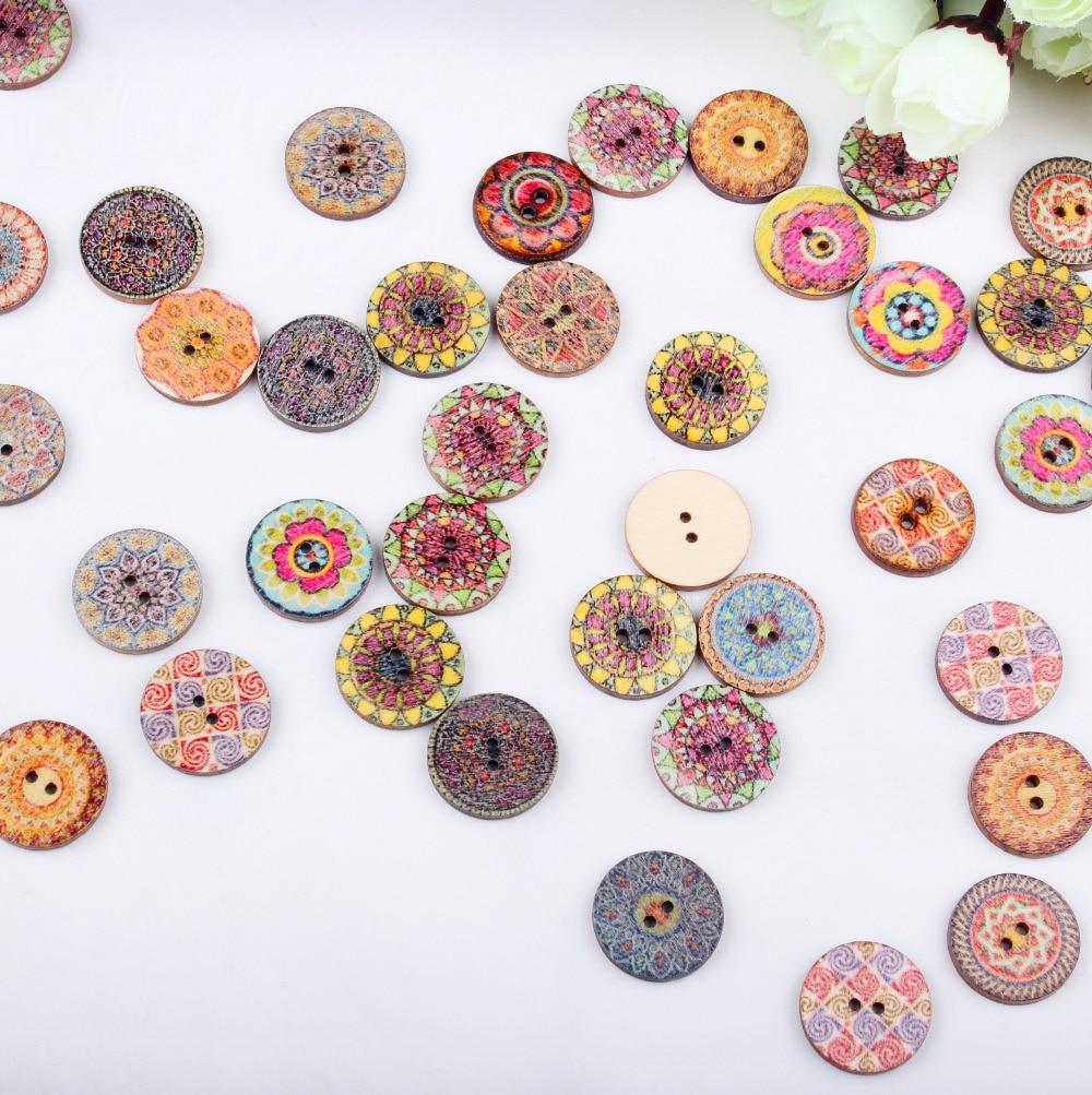 50 unids madera Costura botón scrapbooking ronda al azar dos ...