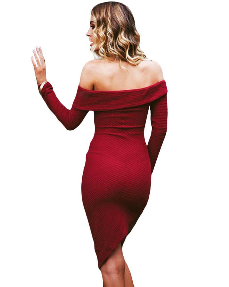 Thanh lịch Red Tắt Shoulder Đan Phụ Nữ Dresses 2019 Mùa Đông Slash Cổ Dài Tay Áo Mùa Thu Váy Mỏng Không Đối Xứng Bodycon Dress