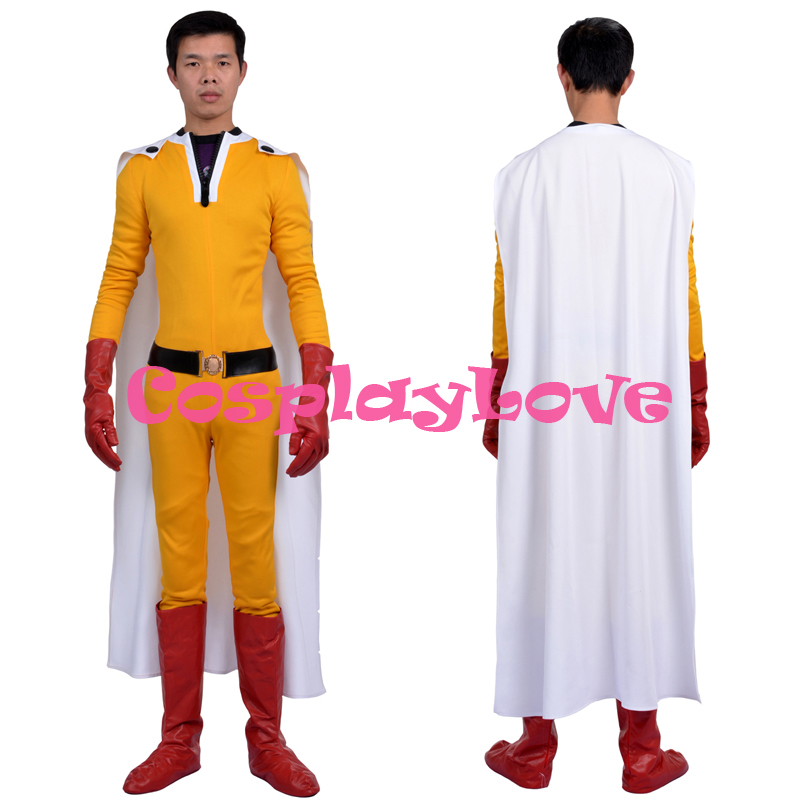 Nouveau Costume personnalisé de haute qualité japonais Anime One Punch-Man Saitama Caped Baldy Hagemanto Cosplay Costume pour Halloween noël