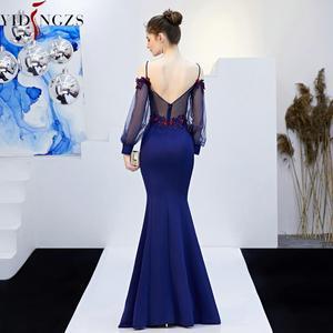 Image 2 - YIDINGZS vestido largo de noche con tirantes, apliques abalorios, espalda descubierta, Formal, para fiesta, YD0801