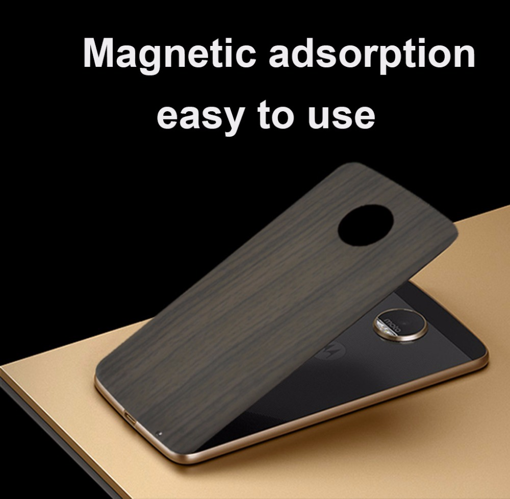Back cover for Moto Z4 Z3 Play Z2 Force Motoaola Z Series Phone magnetic adsorption mods Wood grain star Backplane Case shell