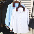 Newest Spring 2017 Fashion White/Blue Women Shirt Casual Sequined Turn-down Collar Single-breasted Female Shirts