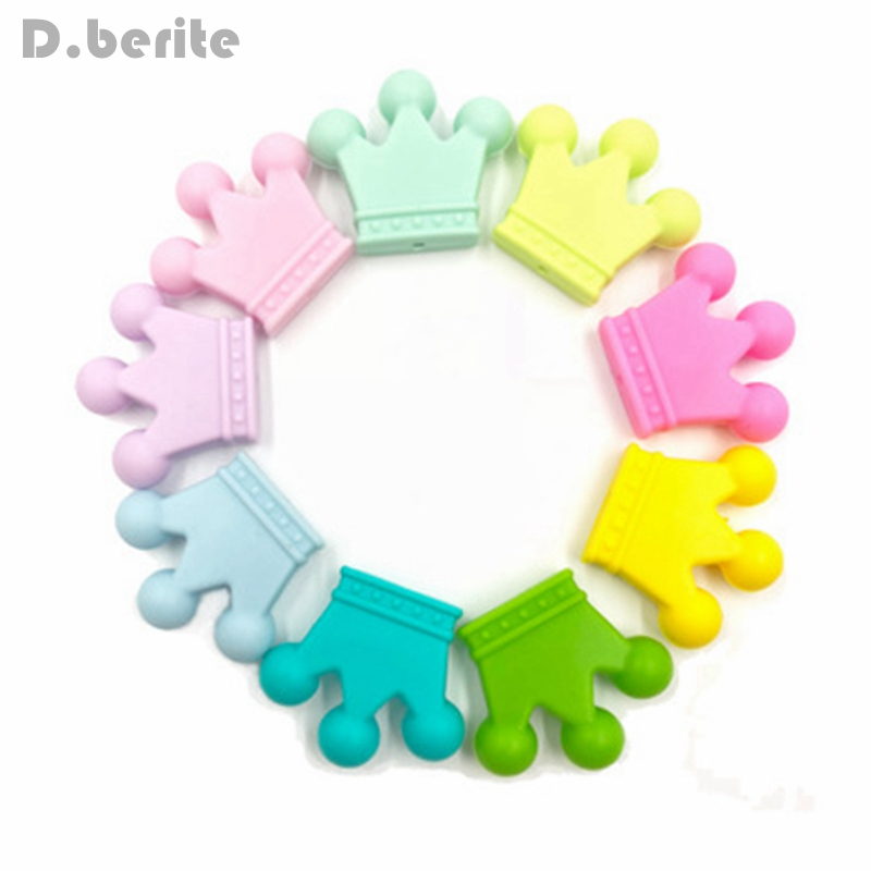 5 Pcs Silicone Pacifier Hand made Funny Colorful Beads Pendant Crown Shape Baby Teether Relief Pain DIY Necklace KYY8269