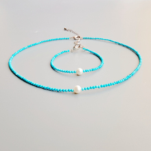 Turquoises Freshwater Pearl Beads Choker Necklace Bracelet Set Natural Stone Popular Jewelry for Women Nice Gift