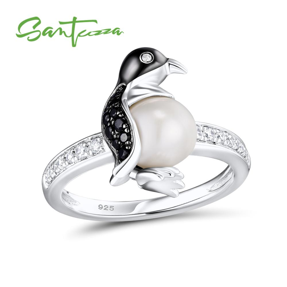 SANTUZZA Silver Penguin Pearl Ring For Women 925 Sterling Silver Trendy Fashion Rings for Women Cubic Zirconia Ringen Jewelry eu popular soft serve ice cream maker machine desk top ice cream machine for sale