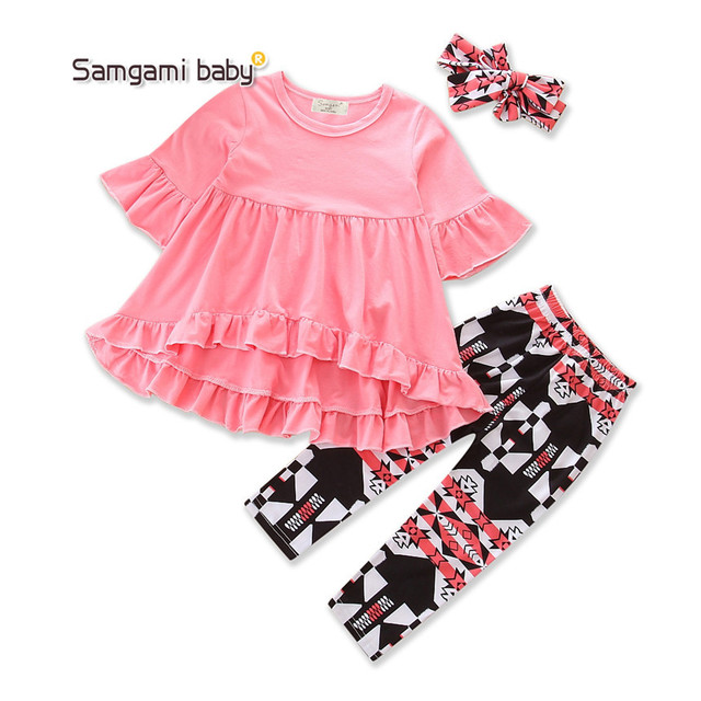 d935b66db5ae SAMGAMI BABY Brand 2018 New Autumn Baby Girls Clothing Sets Children Summer  Outfits T-shirt+Pants+headband 3pcs Sets Size 1-5Y