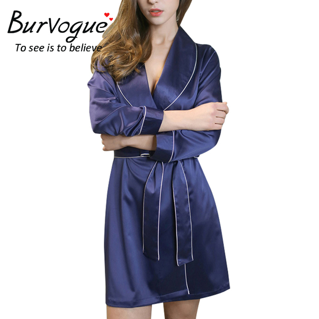 Burvogue  New hot sell nightdress new night robe solid mini sexy nightwear long sleeve nightdress women nightgown