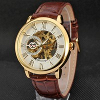FOR 053 Forsining 3d Logo Design Hollow Engraving Black Gold Case Leather Skeleton Mechanical Watches Men