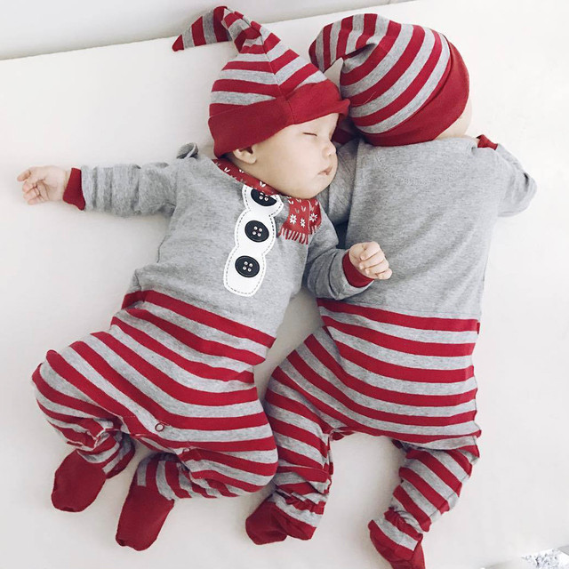 2429583b800b baby clothes Christmas Rompers Long Sleeve o-neck Jumpsuit+Hat 2Pcs Set  Outfit Warm Cute Clothes Newborn Girls Boys Vestidos