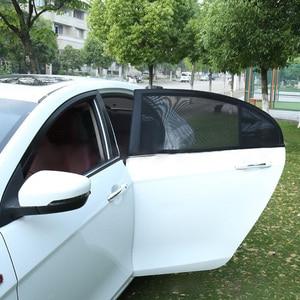 Image 4 - 2 قطعة سيارة الجانب نافذة ظلة السيارات الشمس ظلال للزجاج الأمامي شبكة الشمسية البعوض الغبار حماية الستار UV غطاء نافذة السيارة