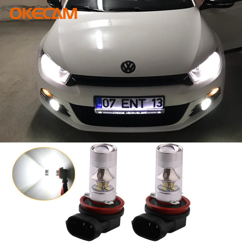 2x H11 LED Car Fog Lamp DRL <font><b>Light</b></font> Bulb 12V For <font><b>VW</b></font> Passat B7 <font><b>Golf</b></font> <font><b>MK3</b></font> MK4 Touarge Touran Jetta 2 Lavida Sagitar Magotan Phaeton image
