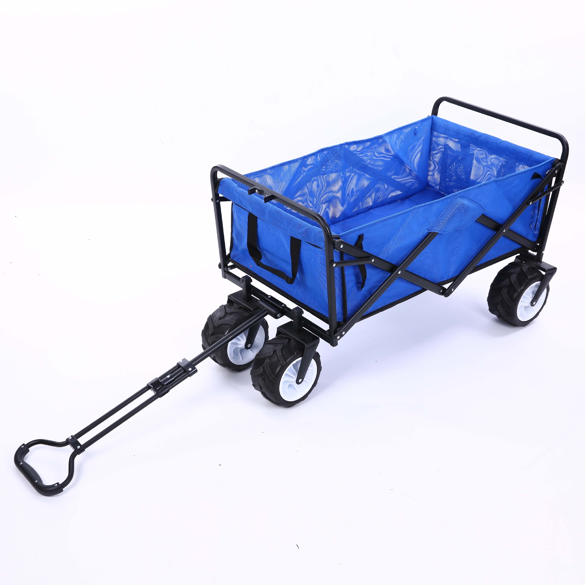 все цены на Blue Big Wheel Trolley Cart Folding Shopping Cart Luggage Outdoor Camping Fishing Gear Four Wheel Trailer a5334