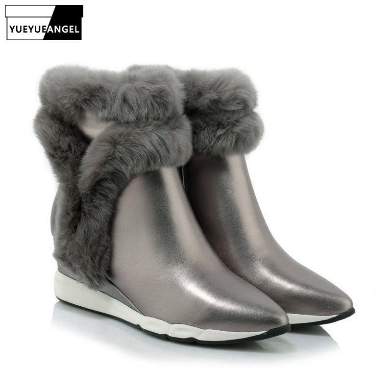 New Hot Sale Fashion Women Wedges Shoes Pointed Toe Comfortable Genuine Leather For Women Warm Fur Ankle Snow Boots Side Zipper New Hot Sale Fashion Women Wedges Shoes Pointed Toe Comfortable Genuine Leather For Women Warm Fur Ankle Snow Boots Side Zipper