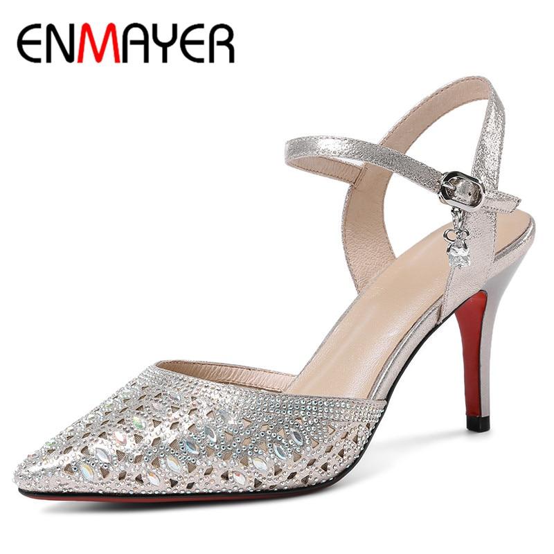 ENMAYER Women Summer Sandals Pumps Shoes Rhinestone Ankle Strap Pointed Toe Buckle Strap Thin Heels Large Size 34-40 Golden  цены онлайн