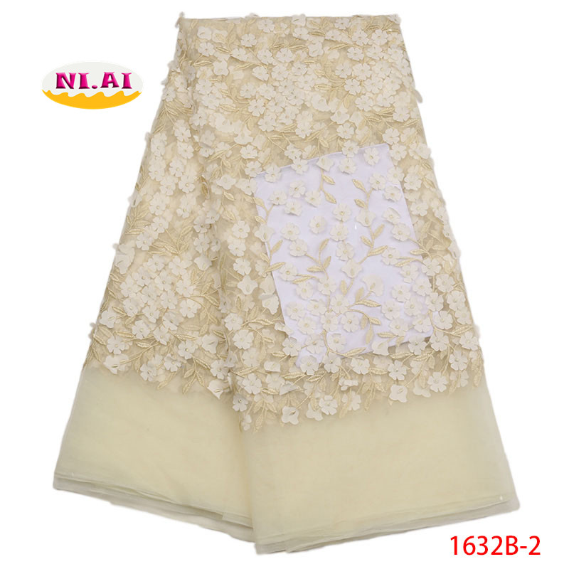 Cream Color French Lace Fabric High Quality 3D Applique Lace Newest Tulle Lace For Nigeria Party