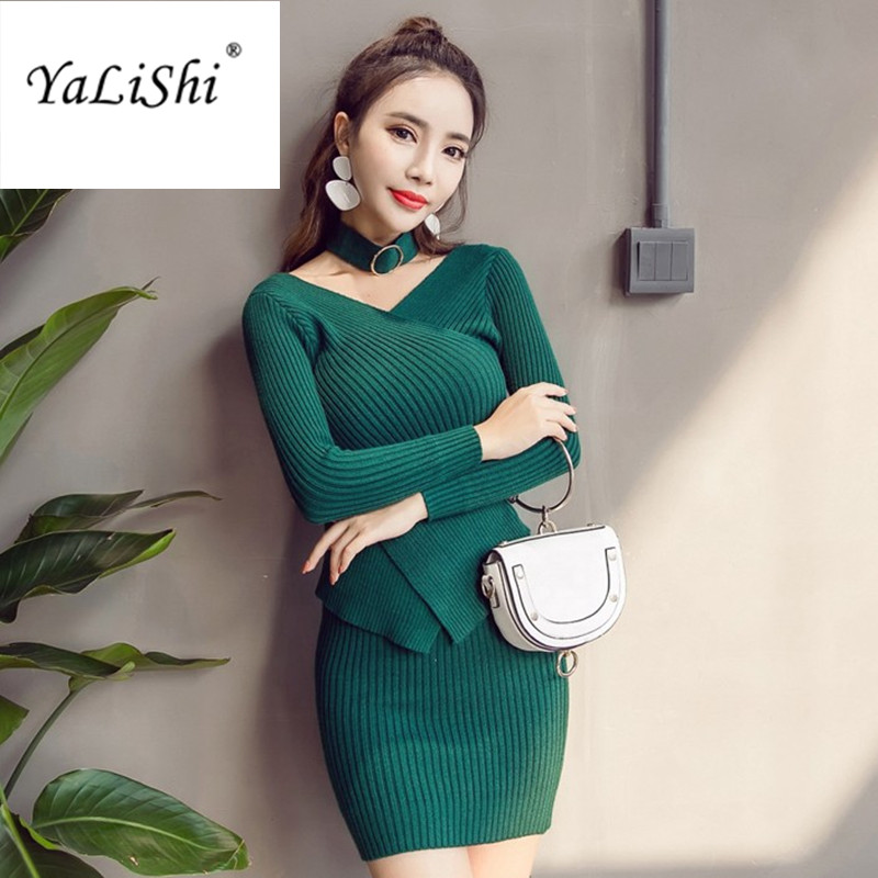 YaLiShi 2 Piece Women Dress 2017 Autumn Winter Elastic Knitting Dresses Long Sleeves V-Neck Dress Bandage Bodycon Sweater Dress