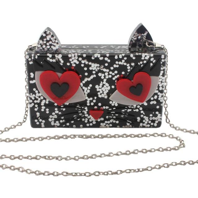 2016 New Arrive Hot Ladies Clutch Fashion Cute Cat Acrylic Women Evening Bag Purses Dinner Party Chain Bag Bolsas Mujer XA1111B