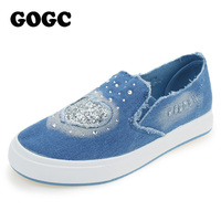 GOGC 2016 Designer Denim Shoes With Crystal Footwear Canvas Shoes Women Causal Shoes For Summer Female