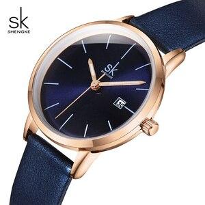 Image 1 - Shengke Fashion New Women Watches Bright Leather Strap Wrist Watch Reloj Mujer 2019 Ladies Quartz Watch Clock Montre Femme#9715