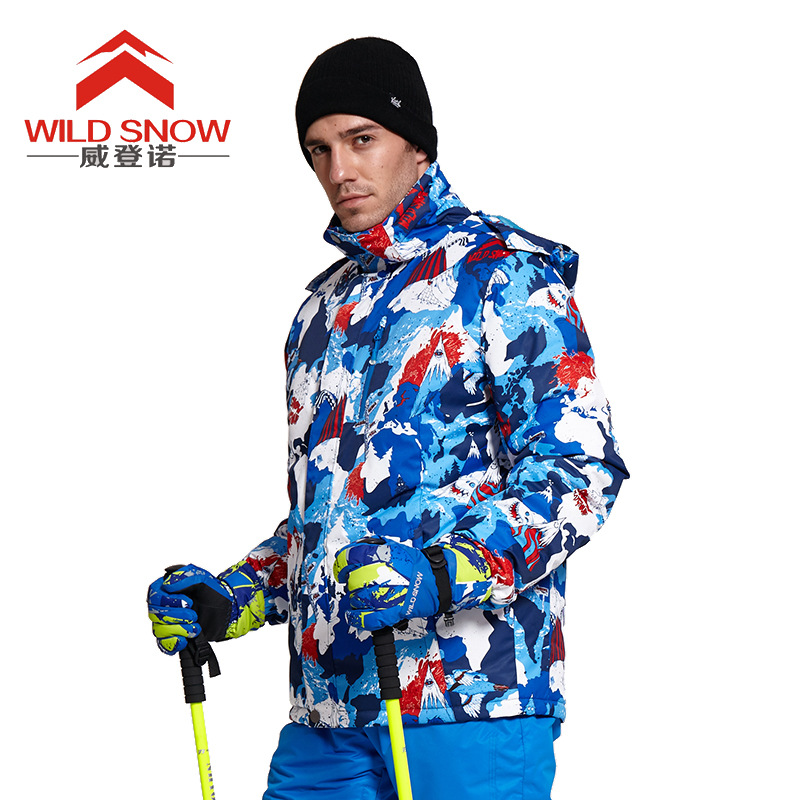 2018 Men's Ski Jacket Windproof Warm Waterproof Professional Skiwear Cartoon Pirates Print Outdoor Clothing For Men men geo print jacket