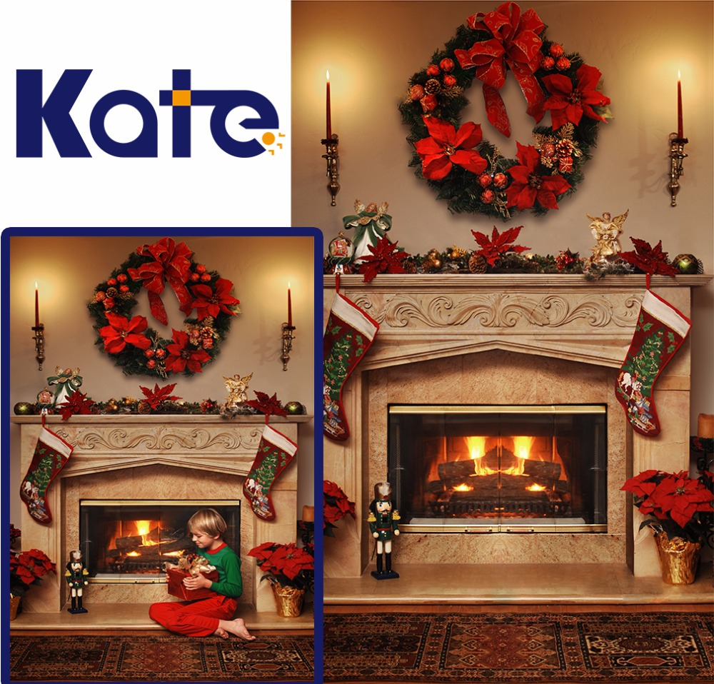 KATE Christmas Photography Backdrops Fireplace Garland Background Halloween Trees Backdrops Vintage Carpet Backdrops for Studio сумка kate spade new york wkru2816 kate spade hanna