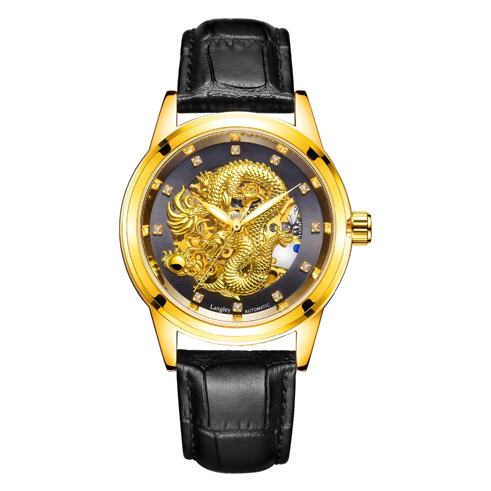 LANGLEY 3D Dragon Watches Men Automatic Mechanical Stainless Steel Wristwatch High Quality Male Skeleton Gold Relogio Masculino langley new modern dragon watches men automatic mechanical watch male skeleton golden wristwatch luxury brand stainless steel