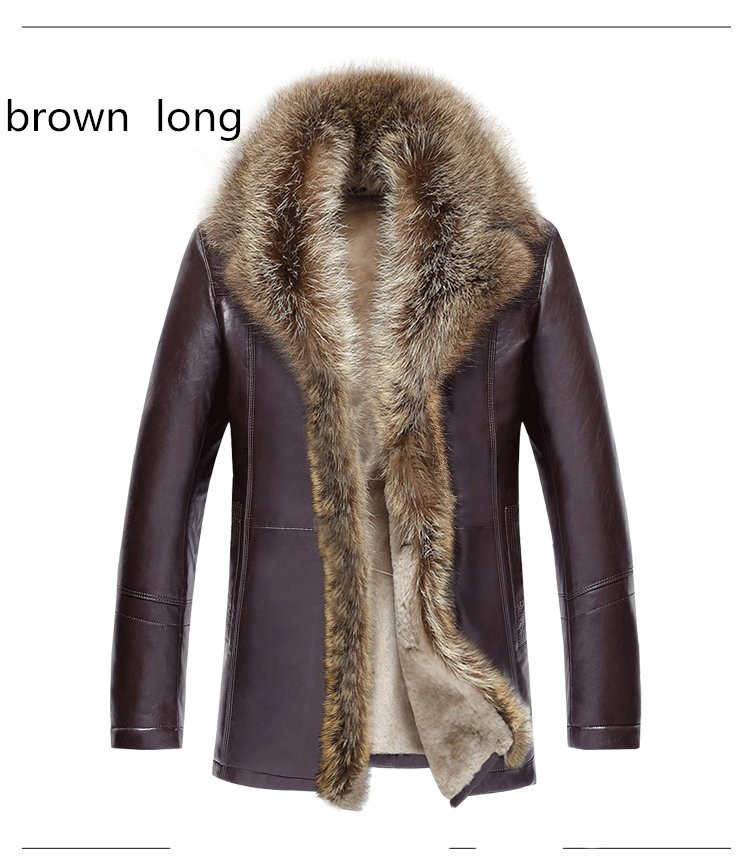 Men's Leather Jacket Lambs Wool Genuine Leather Jacket Male Thick Raccoon Fur Collar Jaqueta Couro Masculino Plus Size MZ1105