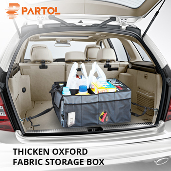 Partol Can be Fold Best Quality Car Trunk Storage Container Bag Big Size Auto Black/Grey Organizer Box for Tools with Fixed Belt