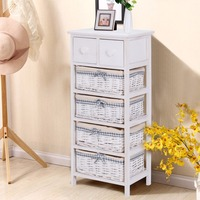 Giantex Nightstand Bedside End Table Organizer 4 Wicker Baskets Chest Cabinet Living Modern Room Furniture HW57052