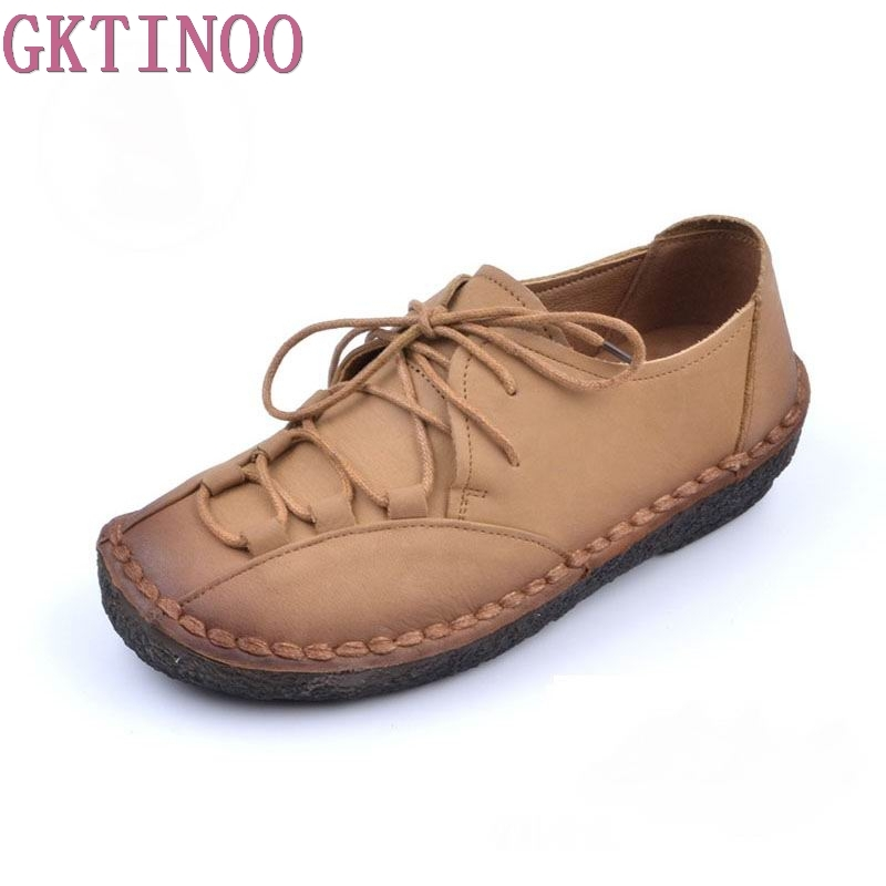 GKTINOO Fashion Loafers Women Shoes Genuine Leather Shoes Handmade Soft Comfortable Flat Shoes Woman Casual Shoes Women Flats women s flat shoes woman loafers women handmade comfortable shoes genuine leather soft outsole shoes women flats 35 40