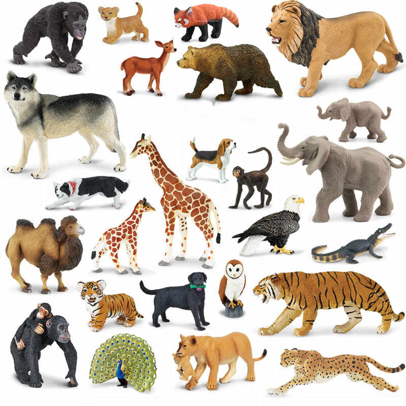 Original genuine Cheetah wildlife animals elefante Africano Bulldog zebra pavão Figurine collectible figuras para crianças