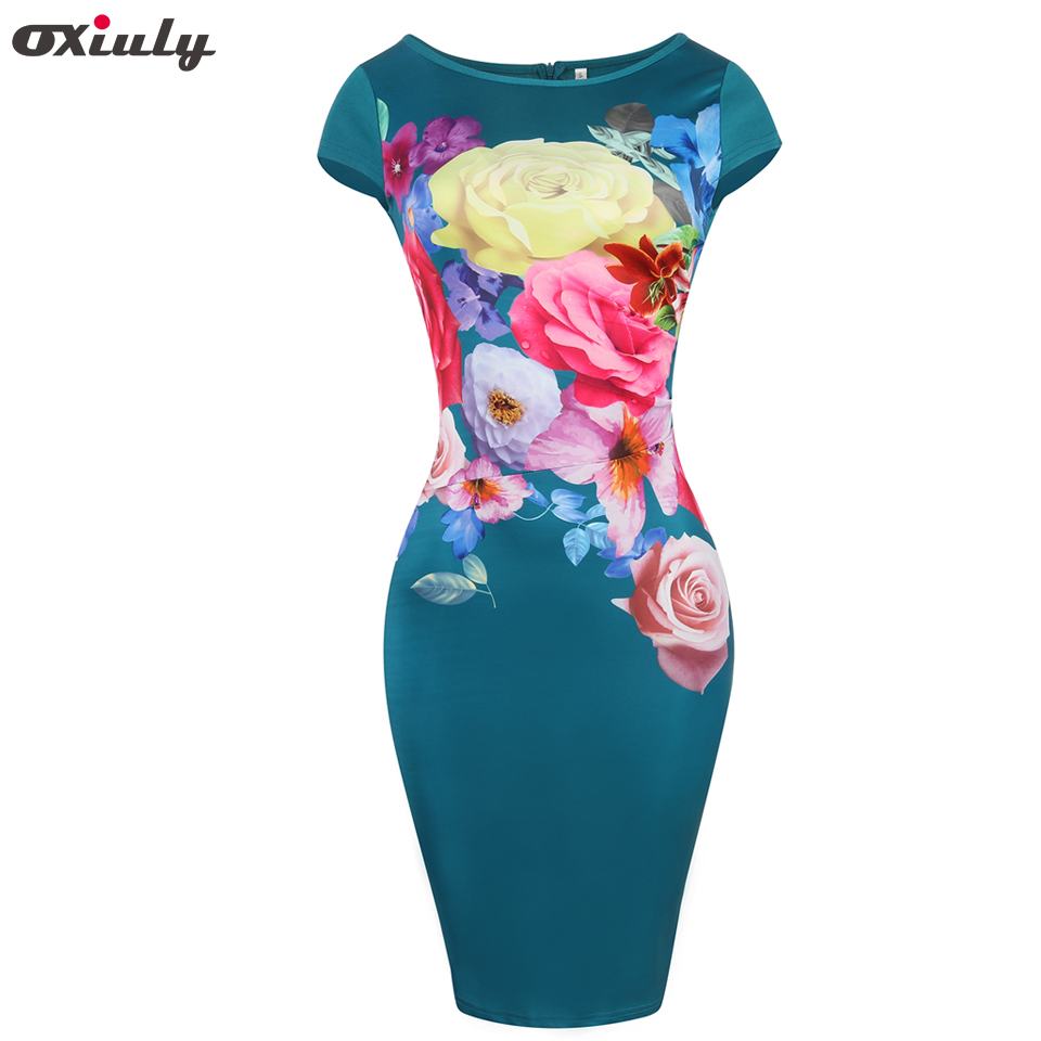 18c085ba74916 Oxiuly Womens Elegant Vintage Floral Print Cap Sleeve Casual Wear To ...