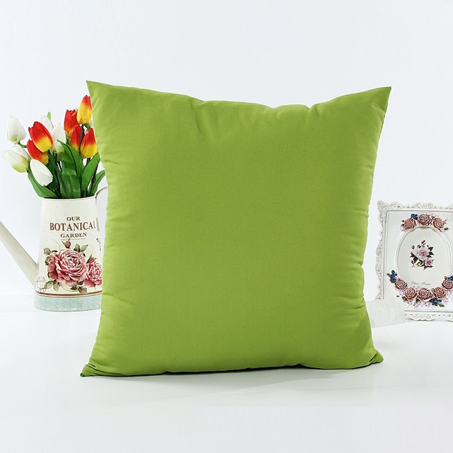 Green Purple Pink Yellow Cushion Covers Solid Sofa Pillows Cases