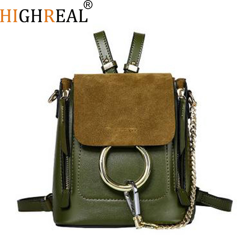 все цены на HIGHREAL Fashion Designer Cow Genuine Leather Women Backpack School Bags For Teenagers Girls Female Travel BackPack J40
