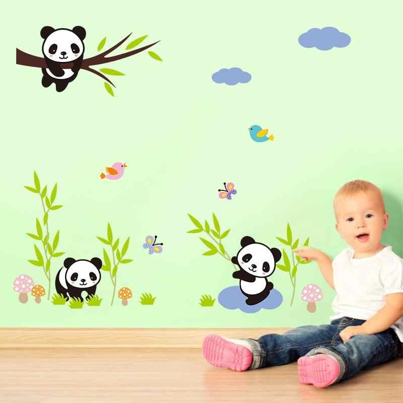 Милый ребенок панды с наклейка «бамбук» на стену для детский сад детская комната украшения дома Животные; Настенная роспись Diy C Книги по искусству Ун Наклейка на стену