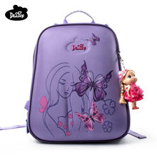 Delune children high quality cartoon school bags boys girls students creative kids travel orthopedic satchel school backpack bag(China)