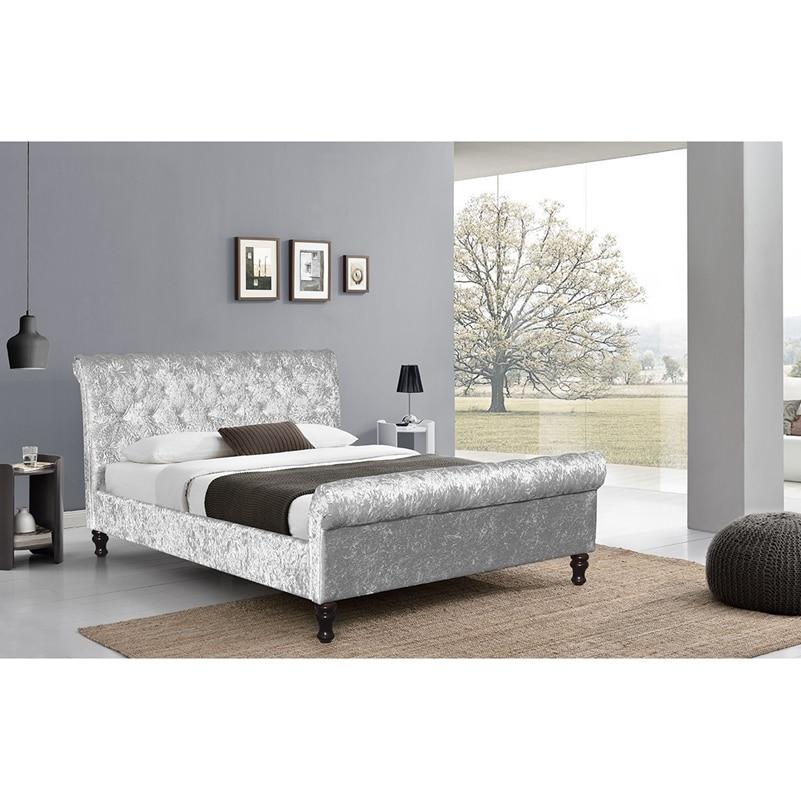 Crushed Velvet Bed Fabric Upholstered Chesterfield Sleigh Bed Frame ...