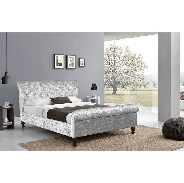 Crushed Velvet Bed Fabric Upholstered Chesterfield Sleigh Bed Frame Crystal  Diamond Double 4FT6, 5FT Dropshipping